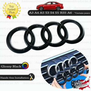 Audi Front Grille Ring Emblem Cover Glossy Black Badge Logo A3 A4 A5 S3 S4 Rs5