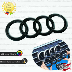 Audi Front Grille Ring Emblem Cover Glossy Black Badge Logo Q5 Q3 Sq5 A6 A7 Q7