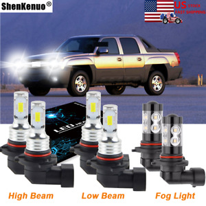 6k Led Headlight Fog Light Bulbs Kit For 2002 2005 Chevrolet Avalanche 1500 2500