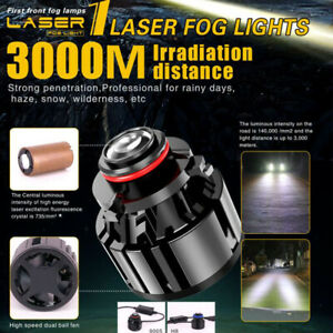 2x Led Laser Fog Light H11 H8 H9 Headlight 500w 595000lm 6000k Driving Drl Lamps