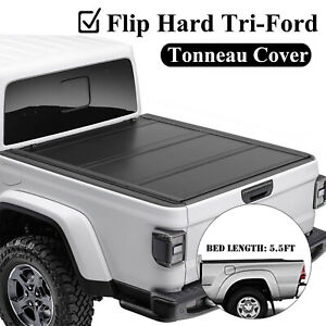 For 14 20 Toyota Tundra Pickup 5 5ft Truck Bed Hard Flip Tri Fold Tonneau Cover