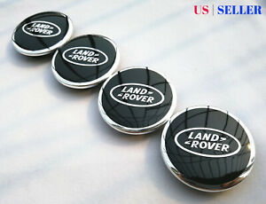 Set Of 4 2 5 Black With Chrome Logo Wheel Center Caps 63mm Fits Lr Range Rover