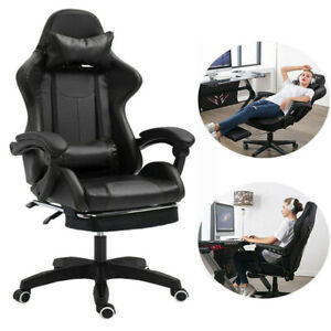 Gaming Racing Chair Office Executive Leather Computer Swivel Chair With Footrest
