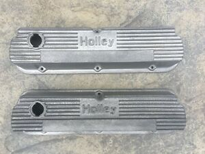 Vintage Ford Holley Aluminum Valve Covers Fits 260 289 302 351w Mustang Torino