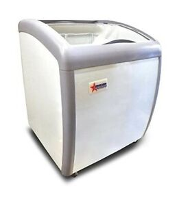 Omcan 31455 26 inch Ice Cream Display Chest Freezer With Curve Glass Top