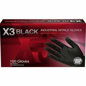 Xl Black Nitrile Disposable Gloves