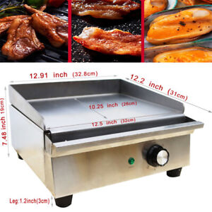 Electric Countertop Griddle 1 2kw Restaurant Kitchen Flat Top Grill Bbq Cooker