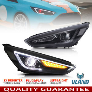 Led Headlights For Ford Focus 2015 2018 Projector Lamp Assembly W Demon Eyes