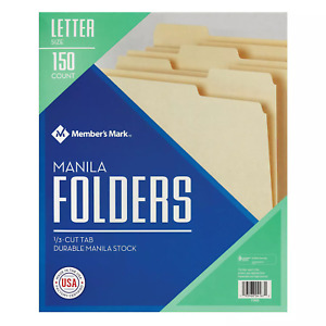 Member s Mark Manila File Folders Letter 150 bx To Daily Use