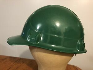 Vtg Usa Willson Green Hard Plastic Hard Hat Helmet W Liner Adjustable Size