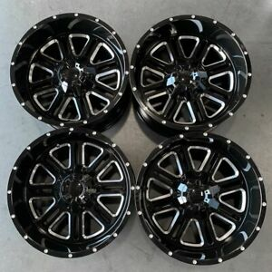 Used 22x12 D6 Fit Lifted Chevy 8x165 1 8x6 5 44 Black Milled Wheels Set 4