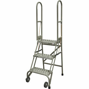 Cotterman Folding Rolling Ladder 3 Steps 350 lb Capacity Perforated Tread