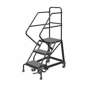 3 step Steel Rolling Ladder W perforated Steps Gry 30inh Top Step 16in 450lb Cap