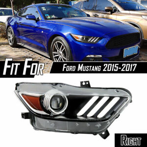 For 2015 2017 Ford Mustang Hid Drl Led Tube Projector Black Headlight Passenger