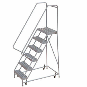 6 step Aluminum Rolling Ladder W ribbed Steps casters 24inwx14ind Plat 350lb Cap