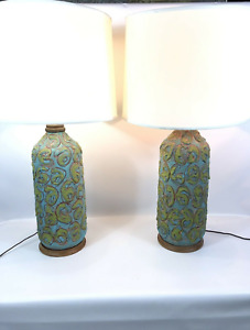 Vintage Mid Century Modern Table Lamp Pair Studio Pottery Designer Ceramics