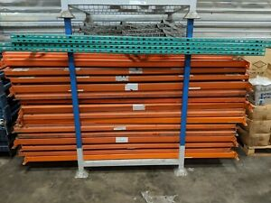 Tear Drop Pallet Rack Lot Two 48 x8 Upright Four 8 Beams And 4 Wire Decks