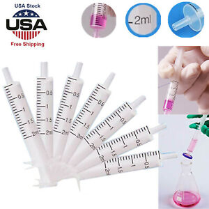 100 300pcs 2ml Plastic Pp Syringe Hydroponics Nutrient Measuring Lab Accurate Us