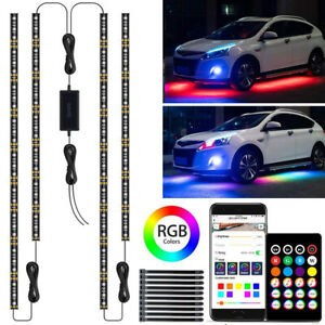 Rgb Led Strip Under Car Tube Underglow Lights Kit App Bluetooth Remote Control