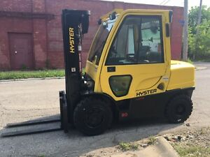 2013 Hyster 8000 Lb Solid Pneumatic Forklift Triple Mast And Ss Gasoline