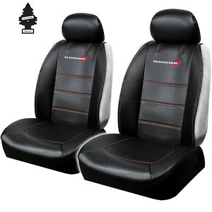 Pair New Dodge Synthetic Leather Car Truck Front Seat Cover Deluxe Edition