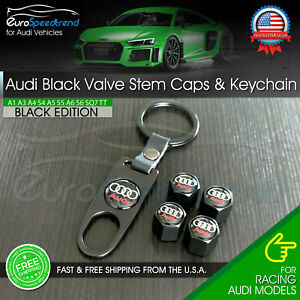 Audi Valve Stem Caps And Keychain Black Emblem Wheel Tire Cap A3 A4 A5 A6 Q5 Q7