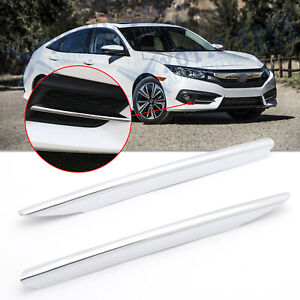 2x Chrome Silver Front Fog Light Strip Cover Trim For Honda Civic 2016 2017 2018