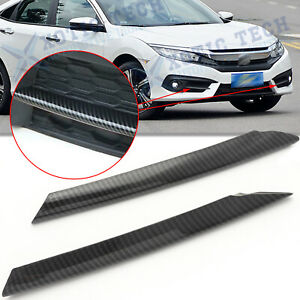 Carbon Fiber Style Front Fog Light Eyebrow Strip Cover Trim For Honda Civic 10th