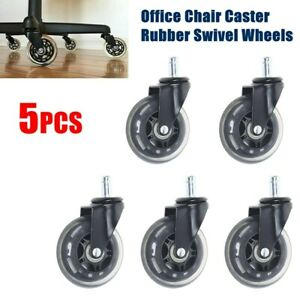 Set Of 5 Heavy Duty Office Chair Caster 3 inch Rubber Swivel Wheels Replacement