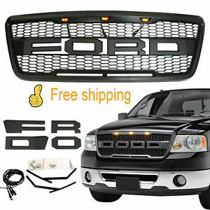 Front Grille Black Grill Raptor Style For 2004 2008 Ford F150 W Led Letter Black