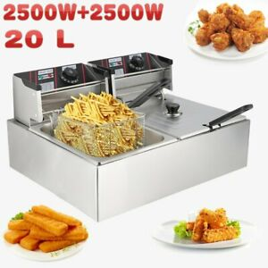 20l Electric Deep Fryer Commercial Restaurant With Frying Basket Lid 5000w