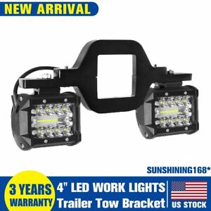 Tow Trailer Hitch Mounting Bracket 4 Led Work Lights Pods Backup Reverse Truck