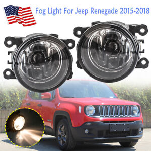 Pair Fog Light Driving Lamps For Jeep Renegade 2015 2016 2017 2018 W H11 Bulbs
