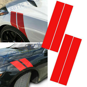 Universal Glossy Red Auto Fender Hood Vinyl Decal Racing Overlay Stripe Stickers