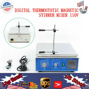 10l Magnetic Stirrer With Heating Plate Hotplate Digital Mixer Stir Bar Lab Usa