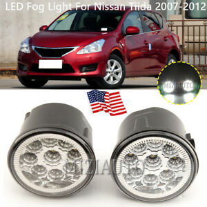 Led Fog Lights For Nissan Tiida 2007 2012 Bumper Lamp Clear Lens Replacement Us