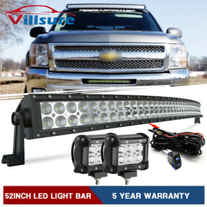 52inch Curved Led Light Bar 4 Pods harness For 07 13 Chevy Silverado Gmc Sierra