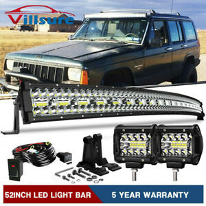 50 Curved Led Light Bar Combo 4 18w Pods For Jeep Cherokee Xj Upper Roof Mount