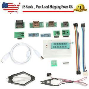 Usb Universal Pcb Programmer Icsp Interface For Tl866ii Plus With 10 Adapters Us