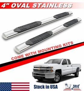 4 Oval For 2007 2018 Chevy Silverado 1500 2500 3500hd Extended Cab Side Steps