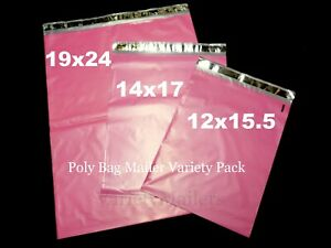 40 Pink Poly Bag Mailer Variety Pack 12x15 5 14x17 19x24 Large Shipping Bags