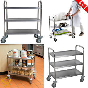 28 X 16 X 32 In 3 Shelf Stainless Steel Utility Kitchen Restaurant Cart Casters