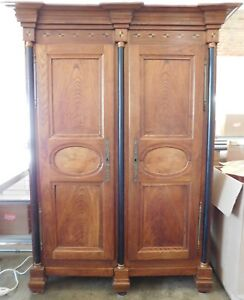 Huge Antique Vintage Armoire Cabinet Storage Hutch Empire Shelves Wardrobe
