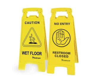 26 Caution Wet Floor Folding Sign Yellow Pack Of 6