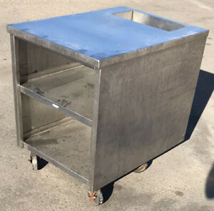 27 X 38 X 35 5 Stainless Commercial Kitchen Prep Table 2 shelf W 4 Wheels