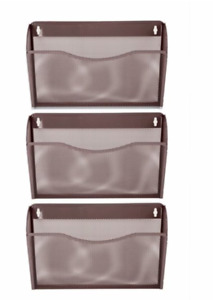 Pro Space 3 pocket Wall Mount File Organizer Office Mesh Collection brown