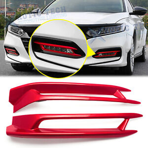 Glossy Red Car Front Fog Light Lamp Panel Trim For Honda Accord 10th 2018 19 20