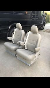 Set Of 2 Bucket Seats W Mounting Brackets Tan Leather Sprinter Van Conversion