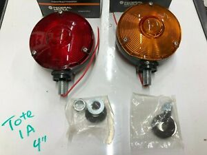 Nos Pair Vintage Turn Signal Lights Signal Stat Red Amber Car Truck Bus Lamp Old