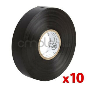 Insulating Tape Black Electrical Tape 65ft Roll Lot Of 10 New